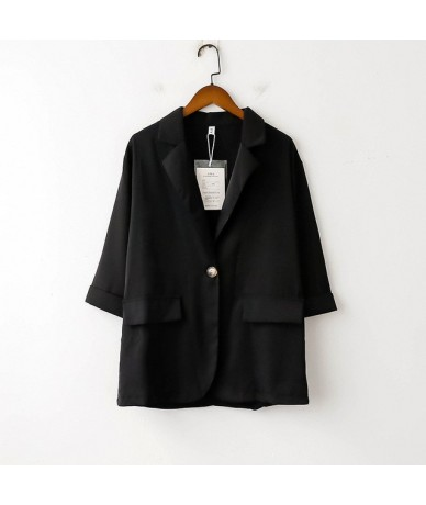 Summer Thin Blazer Jacket Three Quarter Sleeve Small Suit Woman 2019 Leisure Single Button Blazer Loose Coat - black - 47412...