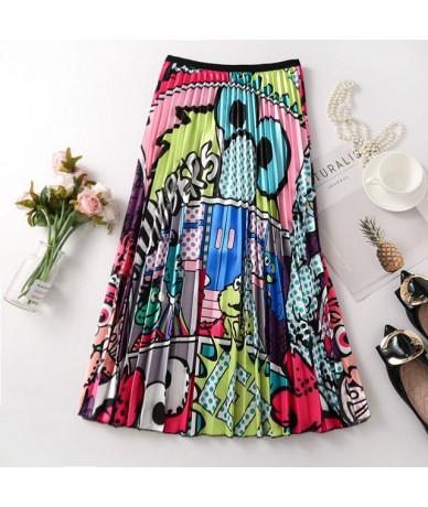 Women Skirts Floral High Elasticity Cartoon Printing Midi Pleated Skirt Jupe Femme Spring Summer Autumn Skirts - Blue - 4F30...