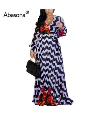 Chiffon Women Summer Long Beach Dress Floral Print Maxi Dress Big Hem Belt V Neck Elegant Evening Sexy Party Dresses - Black...