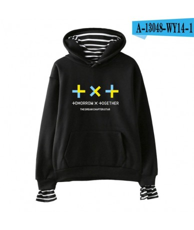 TXT Kpop 2019 New Fake Two Pieces Hoodies Sweatshirt Fashion New Style Outwear TOMORROW X TOGETHER Hooded - Black - 4G300195...