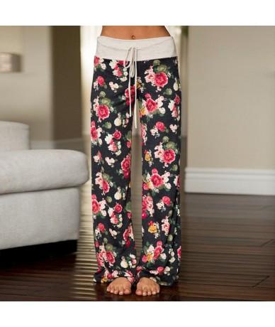 2019 Fashion Women Plus Size Loose Casual Flower Printed Drawstring Soft Wide Leg Long Pants Straight High Waist Autumn Trou...