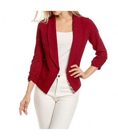 Women 3/4 Sleeve Blazer Open Front Short Cardigan Suit Jacket Ladies Casual Work Office Coat Streetwear Coats chaqueta mujer...