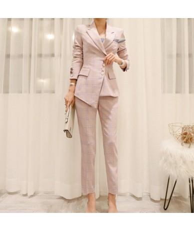 OL Plaid Irregular Women Pant Suits Single Breasted Pencil Pant Suits Blazer Jacket Slim Pant Work Wear 2 Pieces Set Autumn ...