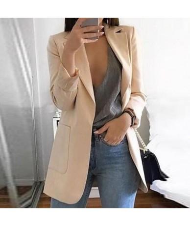 New Women Fashion Slim Blazers Casual Long Sleeve Coat Suit Office Ladies Suit Slim Cardigan Notched Blazer Jacket Outwear -...