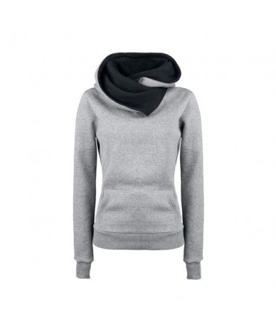 Women Autumn Hoodies Turn-down Collar Long Sleeves Hooded Pullover Thick Tops FDC99 - Gray - 4K4159832863-3