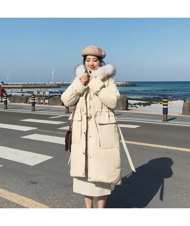 Large Fur Collar Winter Coats Women Letter Slim Thick Warm Cotton Parkas Medium-long Hood Casaco Feminino Inverno LMJ01 - Wh...