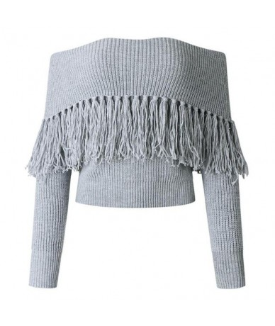 2018 Autumn Women Off Shoulder Sweaters Sexy Female Long Sleeve Solid Color Tops Tassel Knitted Crop Silm Casual Sweater - G...