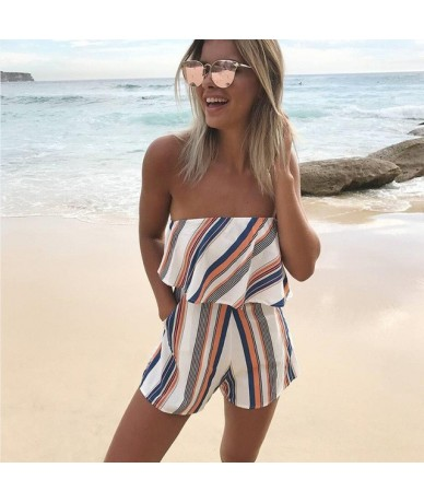 2019 New Women Rompers Floral print lace Jumpsuit Summer Short pleated Overalls Jumpsuit Female chest wrapped strapless Play...