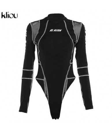 women full sleeve turtleneck bodysuits mesh patchwork letter print 2019 new fashion female workout street casual rompers - B...