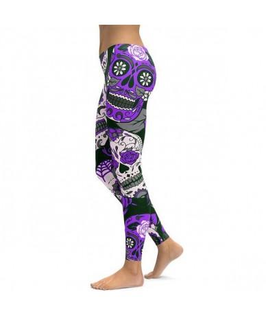Women Skull Digital Print Sexy One-piece Leggings High Waist Push Up Elastic Plus Size Fitness Skinny Pencil Pants - purple ...