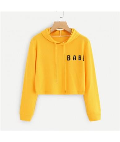 Yellow Letter Print Active Wear Crop Hoodie Girls Drawstring Long Sleeve Autumn Sporting Women Sweatshirt - Yellow - 4H39069...