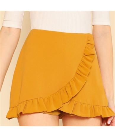 Ginger Ruffle Trim Overlap Skort Vacation Mid Waist Zipper Fly Shorts Women Autumn Highstreet Beach Boho Party Shorts - Gold...