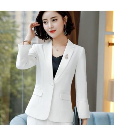 2018 New Autumn Elegant women long sleeve blazer plus size fashion office formal female jacket work wear slim outerwear - Wh...