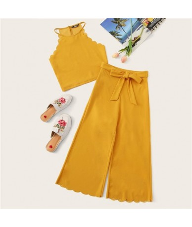 Red Scalloped Halter Crop Top And Knot Culotte Pants Women Sexy Two Piece Outfits 2019 Neon Ginger Boho 2 Piece Set - Ginger...
