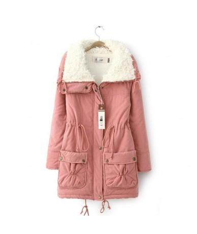 Solid Cotton Women Long Jacket Female Winter Parkas Coats With Pocket For Ladies Plus Size Long Sleeve Warm Velvet Women Jac...