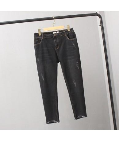 Plus Size 5XL High Waist Jeans Woman Summer Stretch Hole Ripped Jeans For Women Vintage Denim Pants Pencil Jeans Feminino C4...