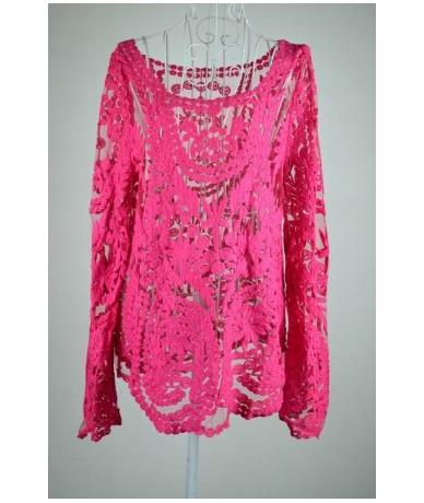 Fashion Crochet Lace Tops Women Blouses Hollow Out Lady Lace Shirt Lace Blouse BE1400 - rose - 3W157171768-3