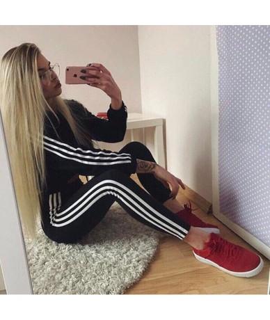 2019 New 2Pcs Women Ladies Tracksuit Crop Hoodies Sweatshirt Pants Sets Leisure Wear Casual Suit Clothes Set - Black - 45414...