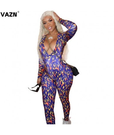 New Tide Tracksuits Jumpsuits Geometry Long Sleeve Bodycon Round Long Sleeve Women Bandage Long Pencil Jumpsuits - Blue - 5C...