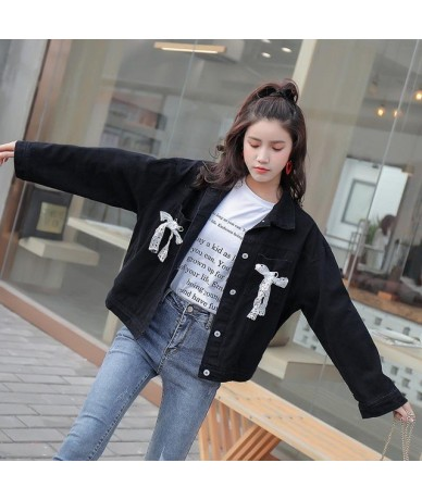 Spring Women Denim Jacket Single Breasted Coats Casual Loose Female Cute Lace Bow Tie Up Decorate Turndown Collar Jakcet - B...