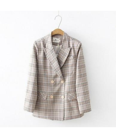 2019 New Arrival Spring Autumn Jacket & Blazers Women Simple Plaid Blazer Feminino Long Sleeve Slim Coat Blazer - color 1 - ...