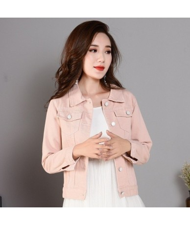 Spring Summer Long Sleeve Slim Jean Coat Vintage Candy Short Denim Jackets Girls Outwear Women Basic Denim Jacket Coat XZ268...
