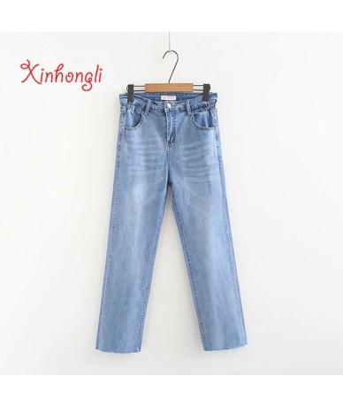 Plus size hole women jeans straight pants 2019 spring autumn NEW casual ladies Elastic Denim fabric trousers female - light ...