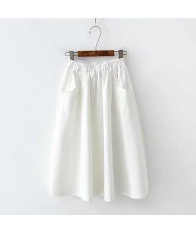 2019 Fashion High Waist Women Summer Cotton Material Skirts Saia Boho A-Line Women White Midi Skirts Faldas Jupe Femme - Whi...