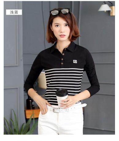 Striped Cotton Polo Shirt Plus Size Young girl women Turn-down Collar Long Sleeve Slim Cotton Tees Female Tops Muje - black ...