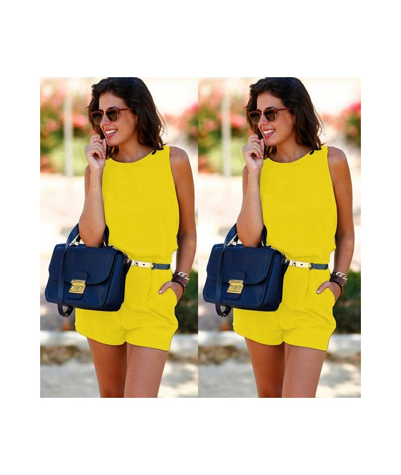 New Women Ladies Clubwear Shorts Playsuit Bodycon Party Jumpsuit&Romper Trousers Shorts Playsuit Pockets - YELLOW - 32919154119