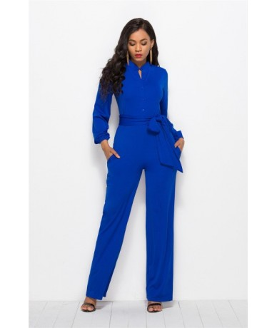 With Sashes Ladies Summer Long Sleeve Jumpsuits for Women Fashion Formal Jumpsuit Elegant Sexy Wide Leg Pants Jumpsuit Overa...