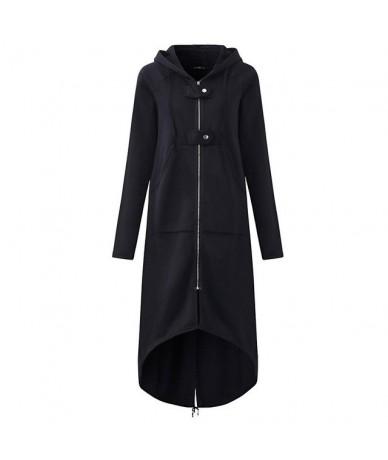 Casual Long Sleeve Hooded Trench Coat 2018 Autumn Black Zipper Plus Size 5XL Velvet Long Coat Women Overcoat Clothes - Black...