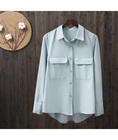 2019 spring new solid women blouse and shirts office lady elegant pocket long-sleeved white shirts female loose shirts tops ...