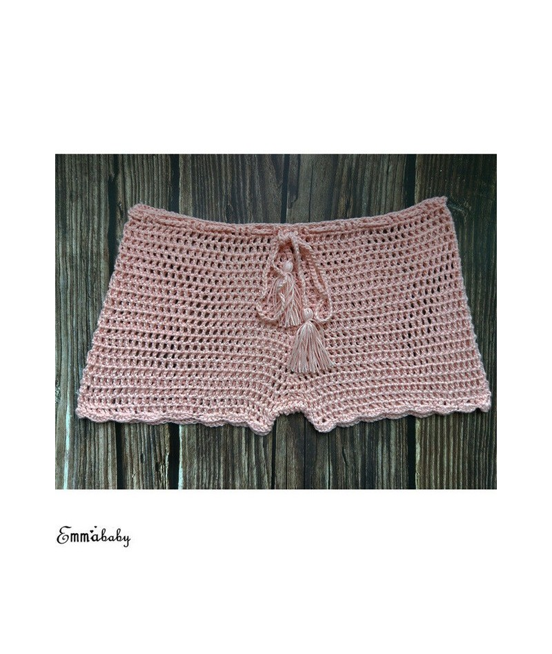 Women Summer Plain Swim Shorts Swimwear Boy Style Short Crochet Ladies Solid Knitted Fashion Loose Shorts Female Clothing - ...