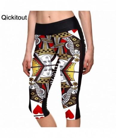 Hot women's 7 point pants Sexy ladies Fashion leggings Q poker gambling digital print women high waist Side pocket phone pan...