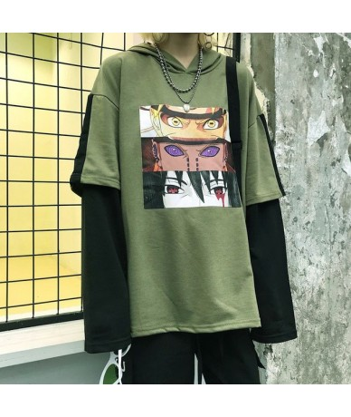 Women Hoodies 2019 Korean Version Harajuku Comic Book Print Patchwork Fake Two Sweatshirt - green - 4A3086388754-1