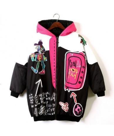 Women Punk Design Thick Warm Winter Coat Harajuku Hooded Casual Loose Long Jacket Street Wear Plus Size Cotton Coat - Black ...