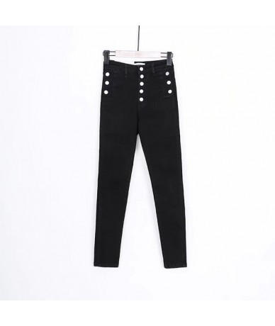 MIND FEET Women Jeans Female Stretch Skinny High Waist Button Pencil Denim Pants Femme Jeans Autumn Summer - black - 4T30199...