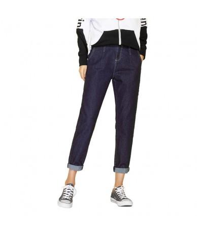 New Autumn Casual Style Plus Size L-6XL Dark Blue Denim Classic Mid Waist Full Length Loose Harem Jeans Women 7288 - Dark Bl...