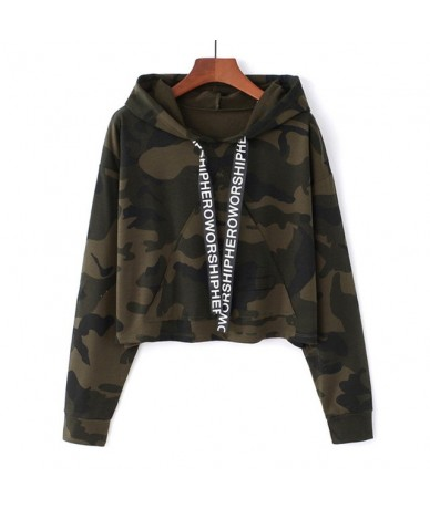 Army Green Camo Print Sweatshirt Rock Camouflage Long Sleeve Short Pullovers Women Autumn Sweatshirts Crop Hoodies - Army Gr...