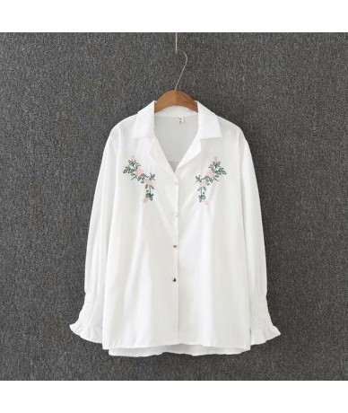 Plus size turn-down collar lantern sleeve blouses women 2018 casual white floral Embroidered shirt spring autumn ladies tops...