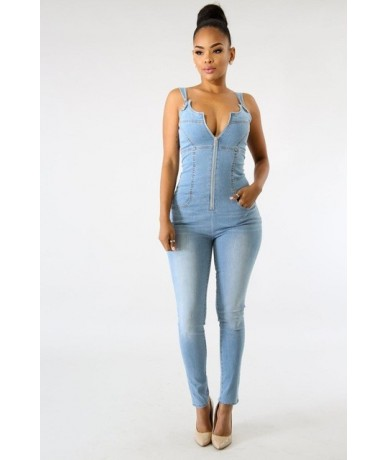 Jeans Jumpsuit for Women Sexy Zipper Front Backless Spaghetti Straps Rompers Denim Trousers Elastic Skinny Long Bodysuit - l...