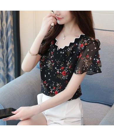 2019 fashion chiffon shirt women blouse short sleeve summer women tops plus size print blouse women's clothing blusas 0095 3...