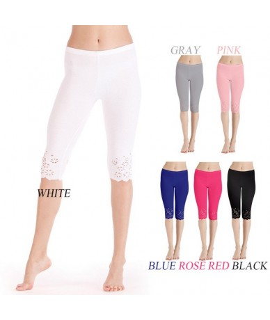 Summer New Women Knitted Hollow Out Flower Leggings Elastic Slim Mid-calf Black White Cropped Pants Female Stretch trousers ...
