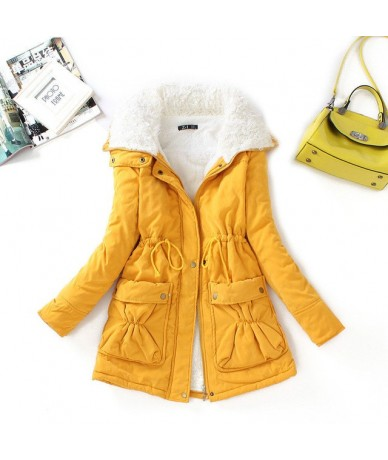 Winter Cotton Coat Women Slim Snow Outwear Medium-long Wadded Jacket Thick Cotton Padded Warm Cotton Parkas - yellow - 2Y908...