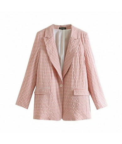Plaid Buttons OL Blazers Coat Women 2019 Notched Collar Long Sleeve Office Ladies Outerwear Casual Casaco Femme - as piture ...