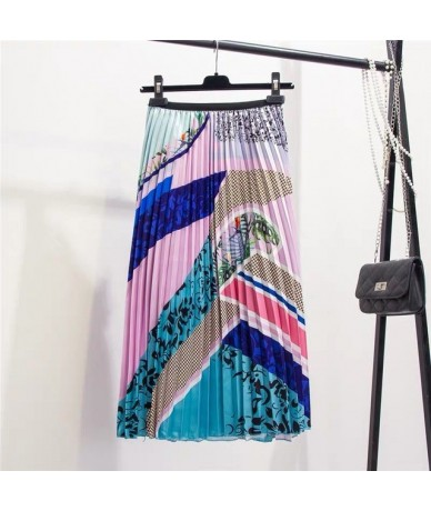 2019 New-Coming Color Printing A-Line Mid-Calf European Women Skirts High Street Style Patchwork Pleated Fashion Skirts - Pi...