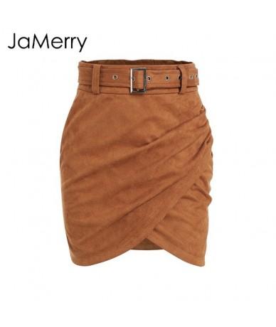 Asymmetric belt suede skirts women Bodycon leather winter skirt 2018 Sexy streetwear High waist short skirts femme - Camel -...