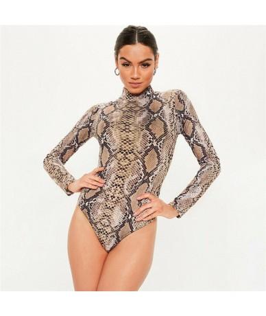 Women Ladies Turtle Neck Sheer Mesh Long Sleeve Leotard Top Bodysuit Size s-xxl - Brown - 434124572364-1