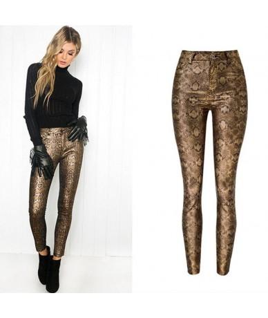 Pu Leather Pants Women Sexy Snake Print Faux Pants Woman Pencil Trousers - Gold - 4A3066679551-1
